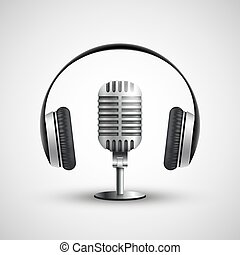 Icon headphones and a microphone. Stock vector realistic illustr