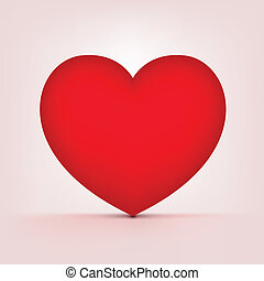 Icon Red Heart on Gradient Background. Vector Illustration.