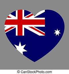 Icon heart symbol of love on the background national flag state Australia. Vector illustration.