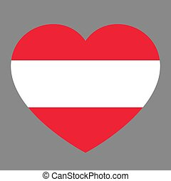 Icon heart symbol of love on the background national flag state Austria. Vector illustration.