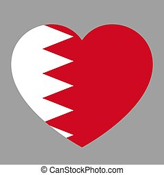 Icon heart symbol of love on the background national flag state Bahrain. Vector illustration.