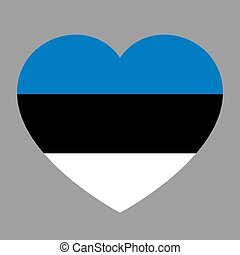 Icon heart symbol of love on the background national flag state Estonia. Vector illustration.