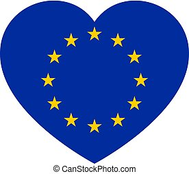 Icon heart symbol of love on the background national flag state European Union. Vector illustration.
