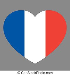 Icon heart symbol of love on the background national flag state France. Vector illustration.