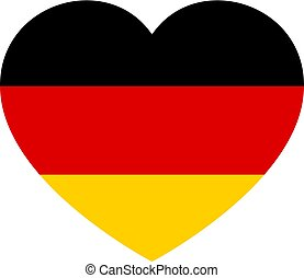 Icon heart symbol of love on the background national flag state Germany. Vector illustration.