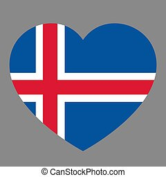 Icon heart symbol of love on the background national flag state Iceland. Vector illustration.
