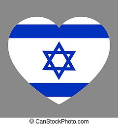 Icon heart symbol of love on the background national flag state Israel. Vector illustration.