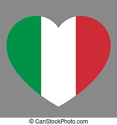 Icon heart symbol of love on the background national flag state Italy. Vector illustration.