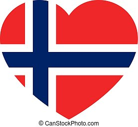 Icon heart symbol of love on the background national flag state Norway. Vector illustration.