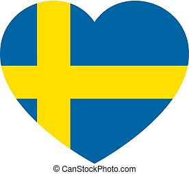 Icon heart symbol of love on the background national flag state Sweden. Vector illustration.