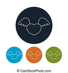 Icon heart with wings, vector
