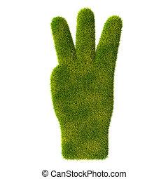 icon., herbe, doigts, main, trois