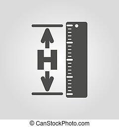 icon., hgt, 高さ, レベル, 登用, 高度, シンボル。, 平ら