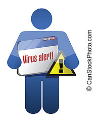 icon holding a browser with a virus alert.