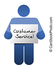 icon holding a customer service sign illustration