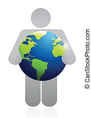 icon holding a globe. illustration design