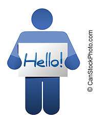 icon holding a hello sign illustration design