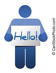 icon holding a hello sign illustration design