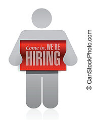 icon holding a hiring sign illustration