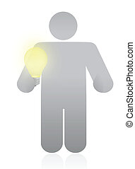 icon holding a light bulb. illustration design