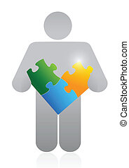 icon holding a puzzle. illustration design