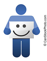icon holding a smile face sign. illustration