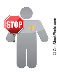 icon holding a stop sign. sheriff authority