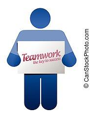 icon holding a teamwork sign illustration