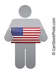 icon holding a us flag. illustration