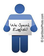 icon holding a we speak english sign. illustration design ...