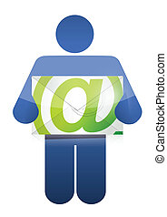 icon holding an email illustration