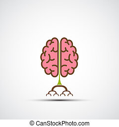 Icon human brain like a tree with roots. Logo of creative ...