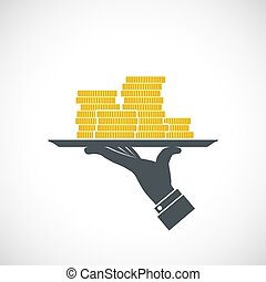 Icon human hand holding a tray with gold coins. Logo of earnings and dividends