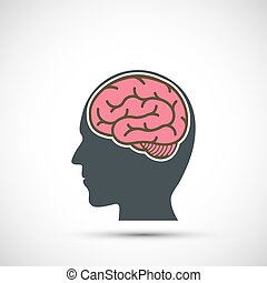 Icon human head with a brain. Vector illustration