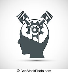 Icon human head with gear and pistons inside. Brain symbol. ...