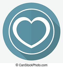 Icon human heart on white circle with a long shadow