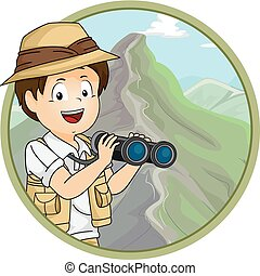 Icon Illustration of a Little Boy in Safari Gear Using a...