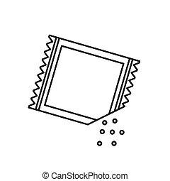 icon-, ilustração, papel, vetorial, açúcar, sachet, pó