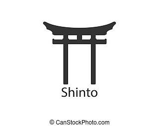 icon., ilustración, plano, japonés, shinto, vector, torii,...