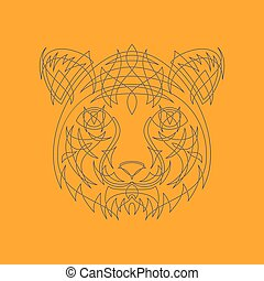 Icon in a flat style Abstract tiger