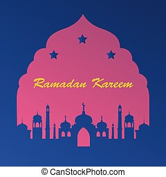 Icon in a flat style Ramadan mosque