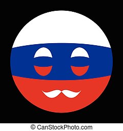 Icon in colors of Russian flag with mustaches in globe form