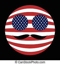 Icon in colors of the American flag with mustaches in globe form