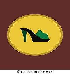 Icon in flat design fashion footwear Flip flops heels