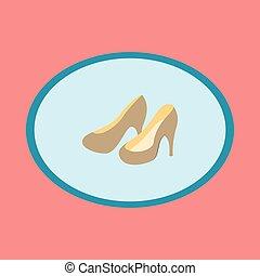 Icon in flat design fashion footwear Women high heel shoes