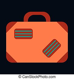 Icon in flat design for airport Suitcase