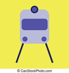 Icon in flat design for airport train