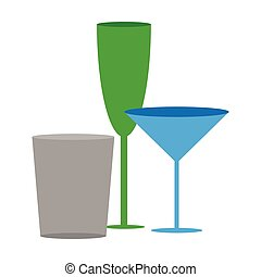 Icon in flat design for restaurant Cocktail glasses