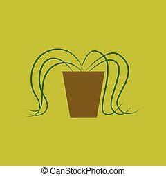 Icon in flat design plant in a pot