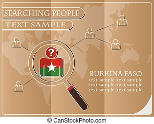 icon in search of people made from the flag of Burkina Faso, vector illustration